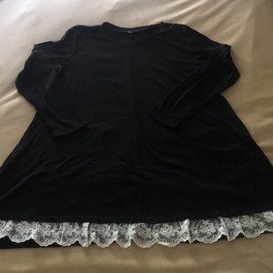 XXL Black Tunic with Lace Hem Measurements